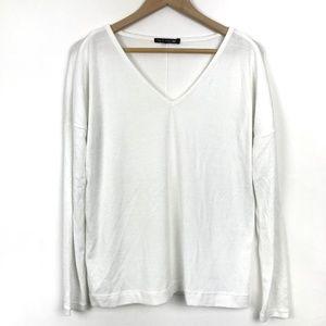 Rag & Bone Long Sleeve V Neck Sweater Solid White